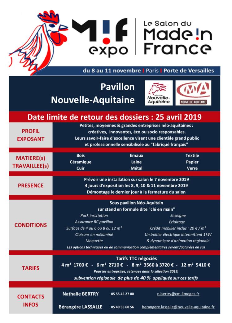 Rejoignez le pavillon Nouvelle-Aquitaine du MIF Expo 2019