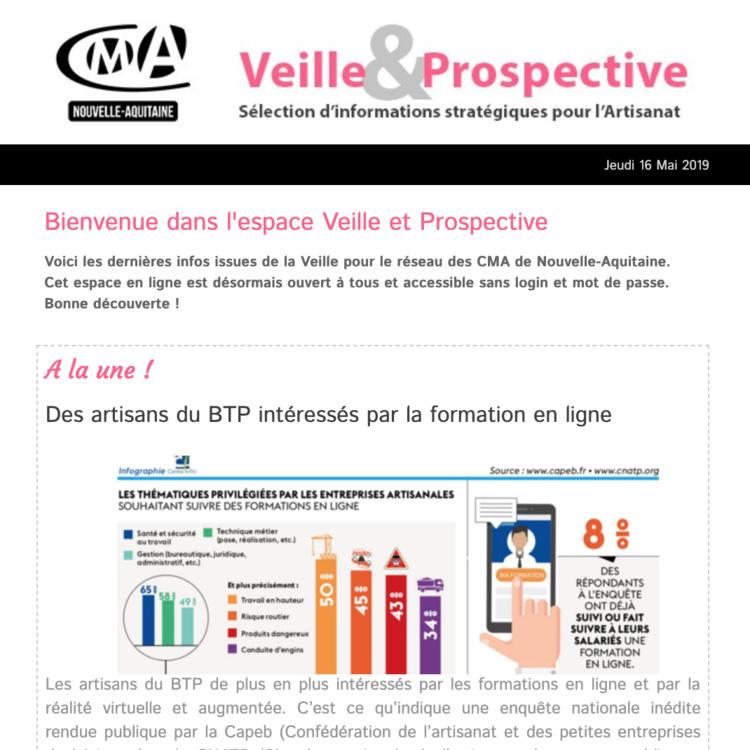 """La newsletter """"Veille et prospective"""" pour l'#artisanat vient de sortir ! [#1 - Mai 2019)"""