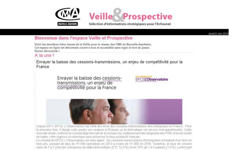 """La newsletter """"Veille et prospective"""" pour l'#artisanat vient de sortir ! [#1 - Juin 2019)"""
