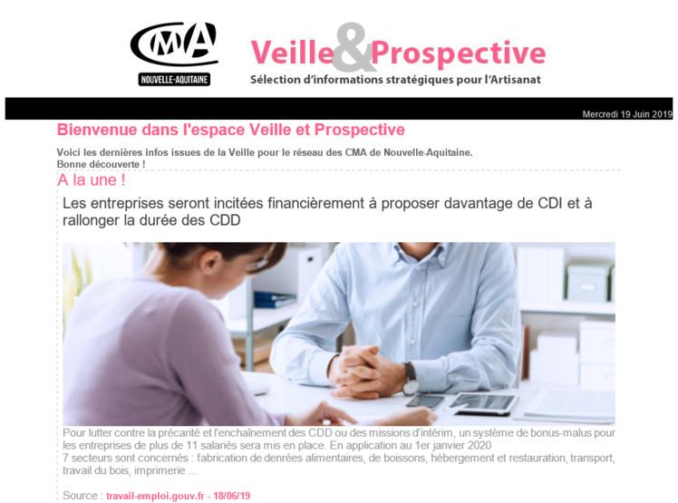 """La dernière newsletter """"Veille et prospective"""" pour l'#artisanat est sortie ! [#2 - Juin 2019)"""