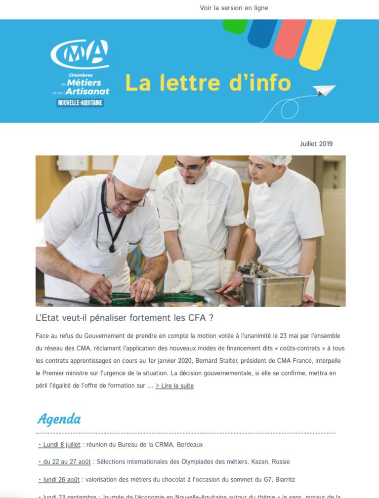 La newsletter de l'#artisanat en Nouvelle-Aquitaine vient de sortir ! [Juillet 2019]