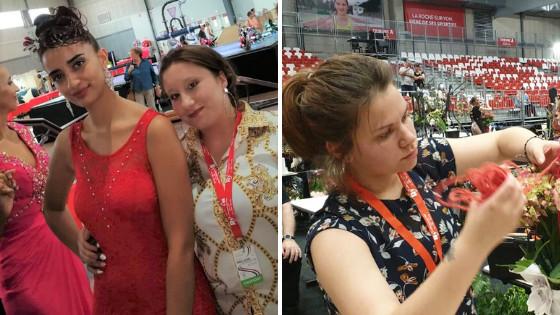 Amandine et son modèle coiffure (photo de gauche) - Mathilde en pleine épreuve de composition (photo de droite)