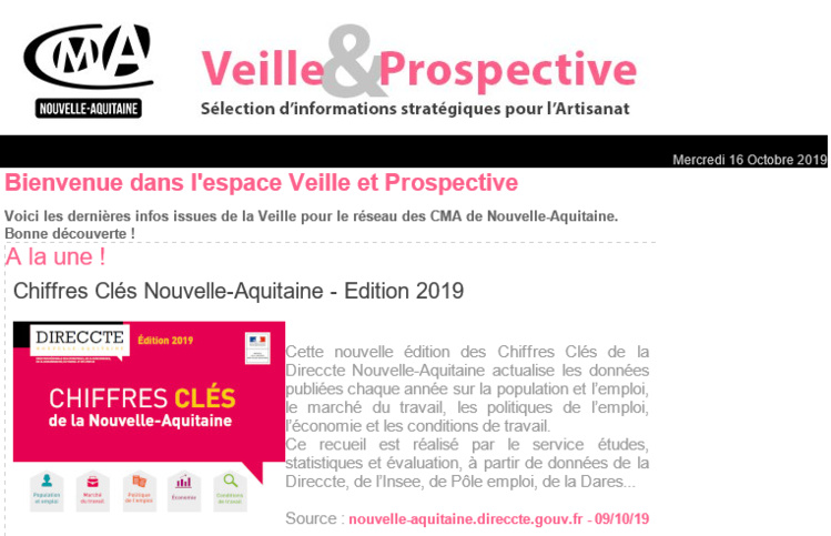 """La dernière newsletter """"Veille et prospective"""" pour l'#artisanat est sortie ! [#2 - Octobre 2019)"""