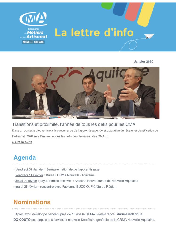 La newsletter de l'#artisanat en @NvelleAquitaine vient de sortir ! [janvier 2020]