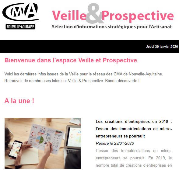 """La newsletter """"Veille et prospective"""" pour l'#artisanat est sortie ! [#2 - Janvier 2020)"""