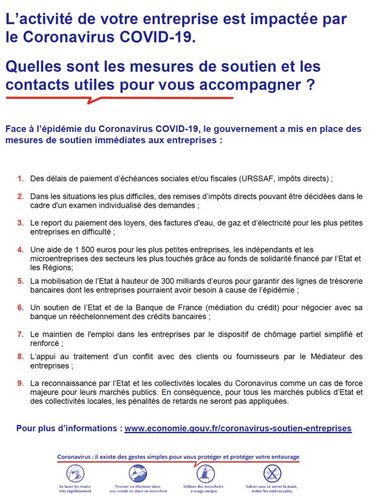 La brochure détaillant les mesures d'accompagnement des entreprises touchées par le #COVIDー19 est en ligne.