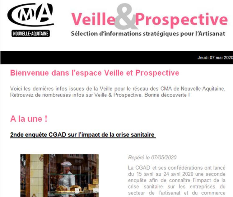 """Sortie de la newsletter """"Veille et prospective"""" pour l'#artisanat ! [#1 - Mai 2020)"""