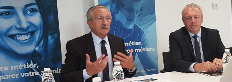 Jean-Pierre GROS, Président de la CRMA Nouvelle-Aquitaine et Joel FOURNY, Président de CMA France à Bordeaux le 8 septembre 2020.