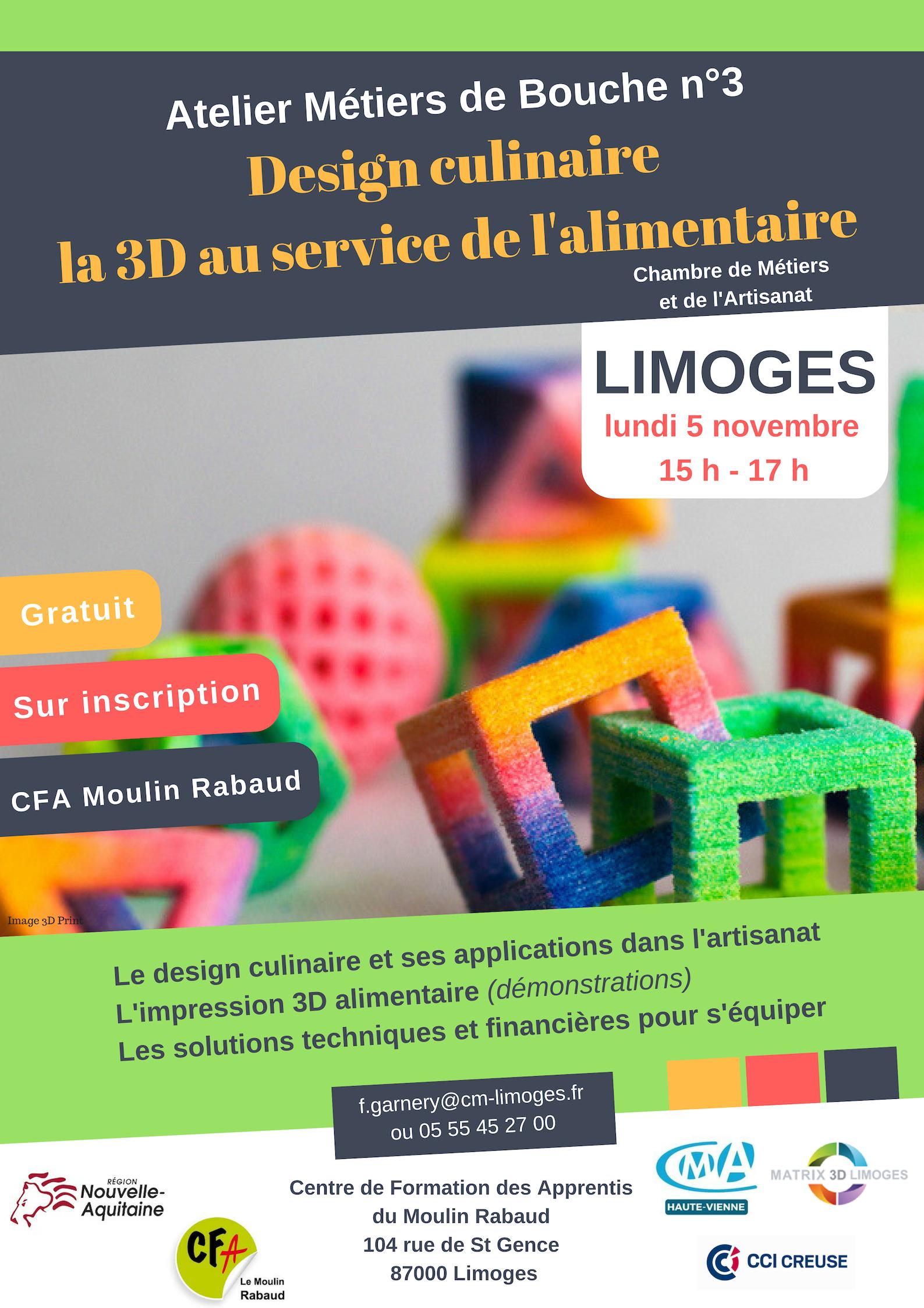 Design Culinaire, la 3D au service de l'alimentaire le 5 novembre au CFA Le Moulin Rabaud !
