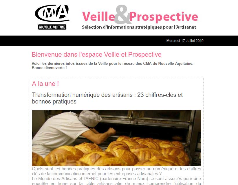 """La newsletter """"Veille et prospective"""" pour l'#artisanat est sortie ! [#2 - Juillet 2019)"""