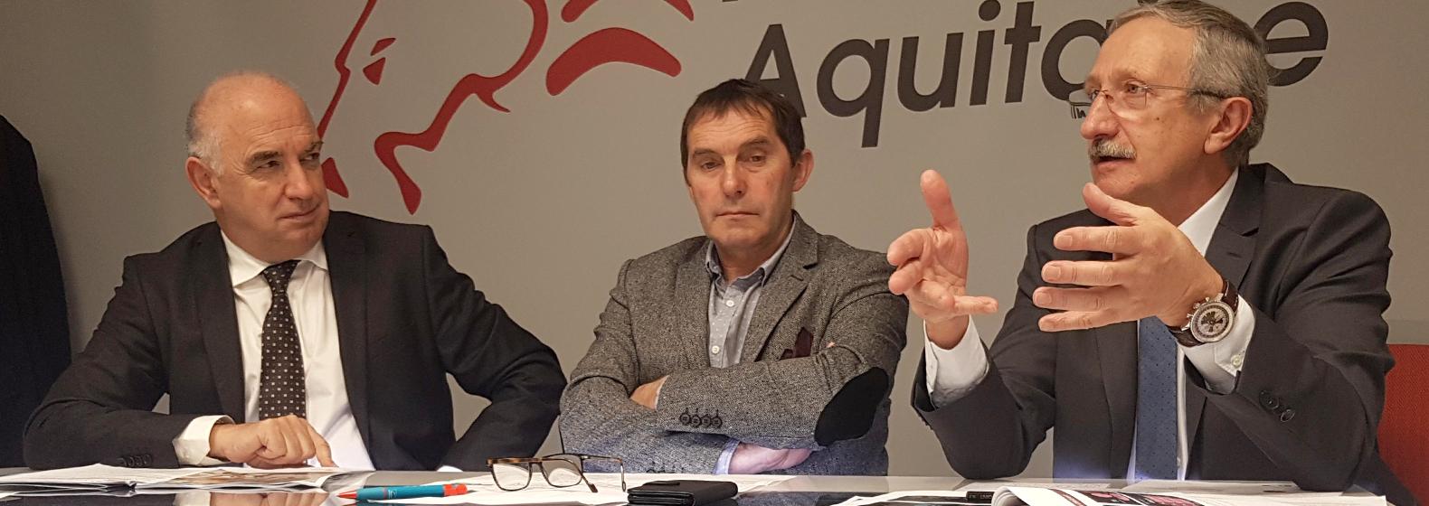 Jean-Paul PAGOLA, Président du Conseil d'administration de l'Urssaf Aquitaine, Guy MOREAU,Conseiller régional, Délégué Reprise et transmission, et Jean-Pierre GROS, Président CRMA Nouvelle-Aquitaine.