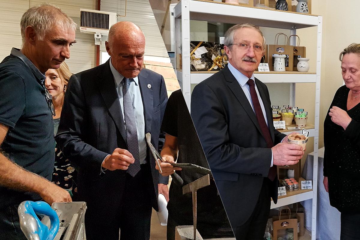 À gauche Alain Rousset, président de la Région Nouvelle-Aquitaine, à droite Jean-Pierre Gros, Président de la Chambre régionale de métiers et de l'artisanat de Nouvelle-Aquitaine