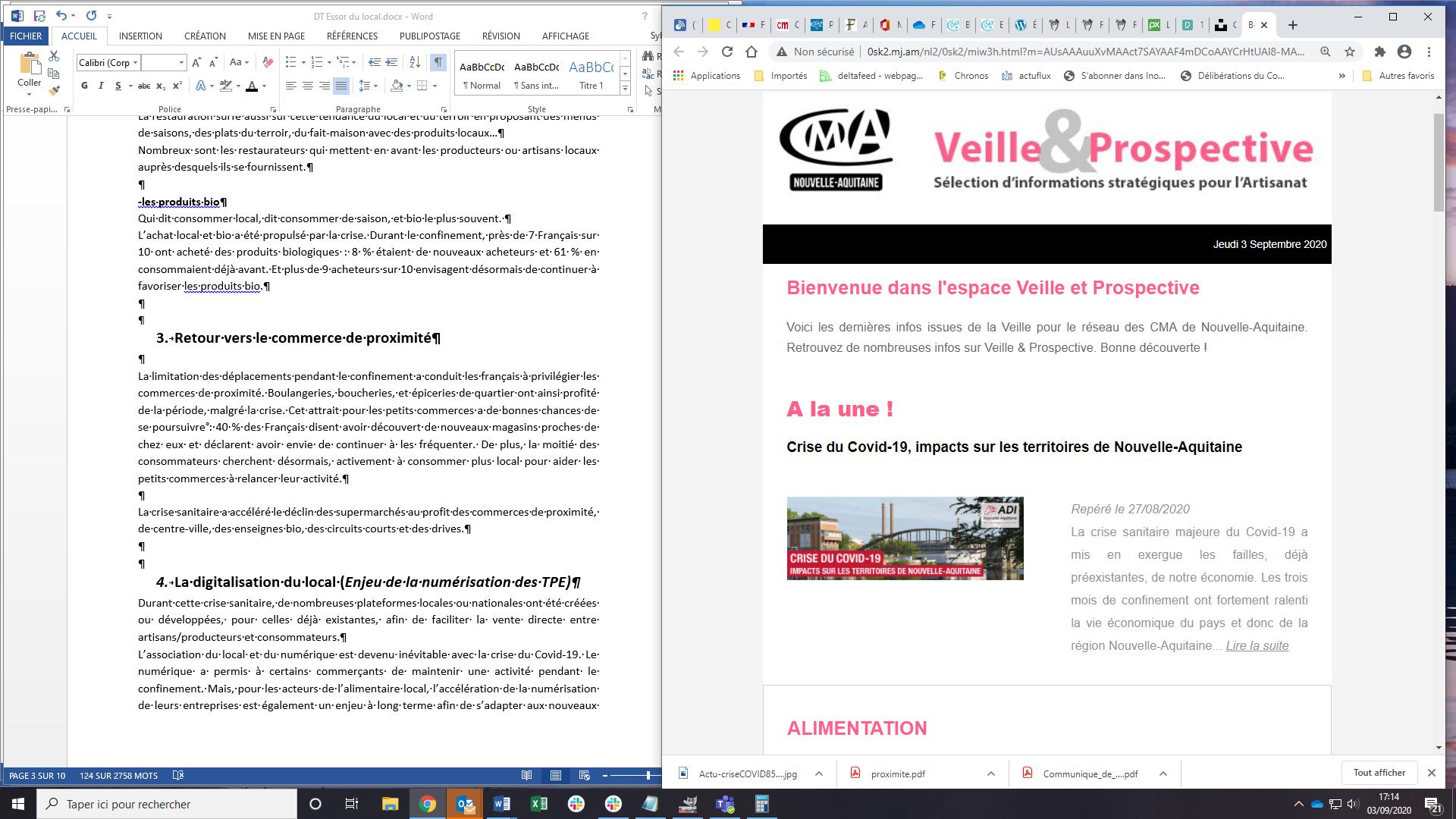 """Sortie de la newsletter """"Veille et prospective"""" pour l'#artisanat ! [#2 - Août 2020)"""