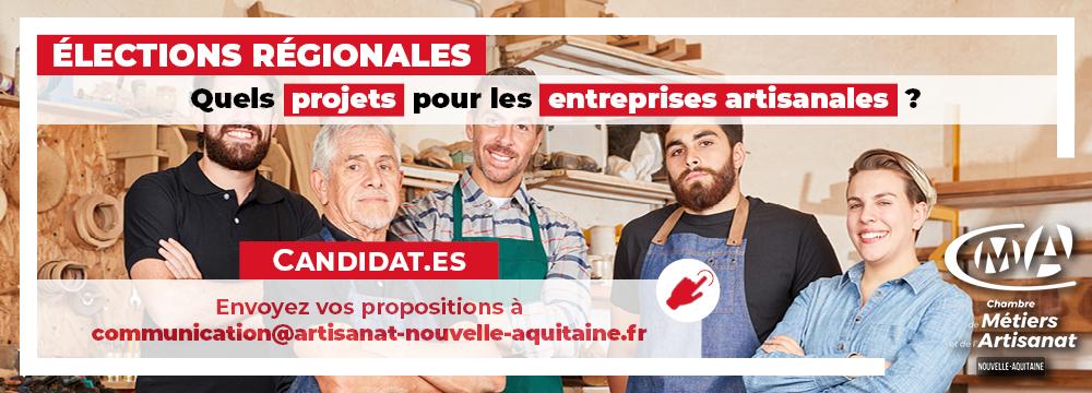 Elections régionales : la CMA Nouvelle-Aquitaine interpelle les candidats sur leurs projets en faveur de l'artisanat