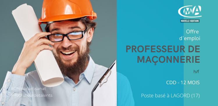PROFESSEUR DE MAÇONNERIE (H/F) CDD DE 12 MOIS POSTE BASE A LAGORD