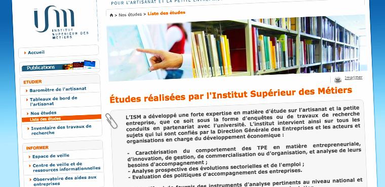 Les études de l'Institut Supérieur des Métiers